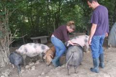 Izzy examining wellies
